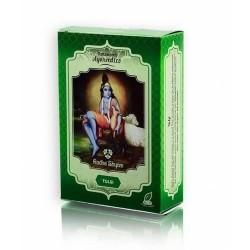 Descripción El Polvo de Hojas de Tulsi Radhe Shyam, planta Sagrada de la India, es conocida por sus efectivas cualidades antio