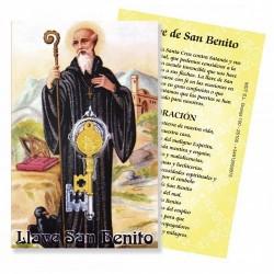 Amuleto Llave San Benito Mini Dorada con oracion (2,5 x 1,2 cm)