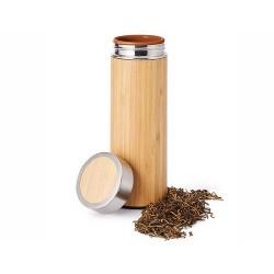 """Botella termo """"Akio"""" Acero inoxidable en óptica de bambú con tapón de rosca 0.3l"""