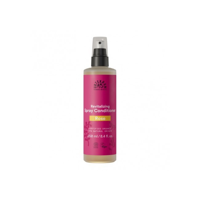 Acondicionador en spray de rosas. Se aplica directamente sobre el cabello húmedo o mojado, después del lavado. No necesita acla