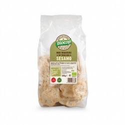 BIOCOP  Mini crackers de TRIGO con SÉSAMO. Finos y crujientes. Sin ningún tipo de levadura. Una alternativa creada para aport