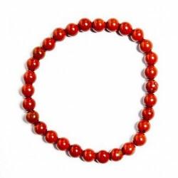 Pulsera jaspe Rojo en bola de 6mm.  Engarzadas en goma elástica.