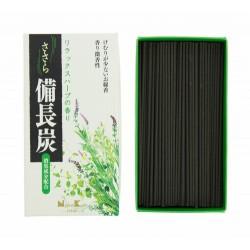 El incienso Sasara Binchotan Relax herb está hecho a base de carbón Bincho de Kishu (prefectura de Wakayama), el de más calidad