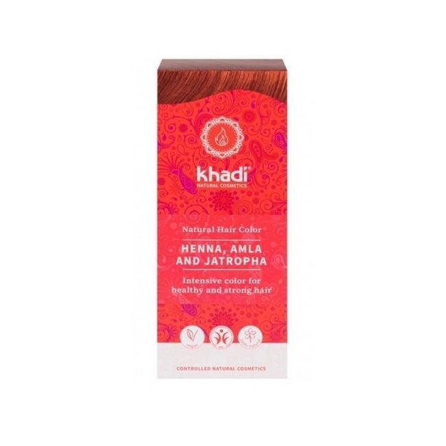 Tinte natural Khadi, Henna pura con Amla que proporciona un color cobrizo al cabello.  Formulaciones ayurvedas, Shikakai, Bhr