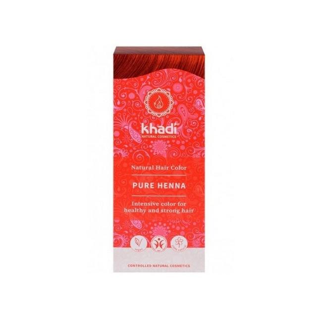 Henna natural Khadi, polvo puro de Lawsonia inermis, que proporciona un color rojizo al cabello.  Color natural para un pelo