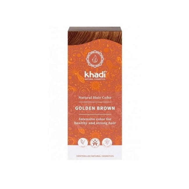 Tinte natural Khadi que proporcionan un tono castaño dorado natural al cabello.  Formulaciones ayurvedas de larga permanencia