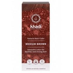 Tinte natural Khadi que proporciona un tono castaño medio natural al cabello.  Formulaciones ayurvedas de larga permanencia p