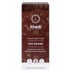 Tinte natural Khadi que proporcionan un tono castaño ceniza natural al cabello.  Formulaciones ayurvedas de larga permanencia