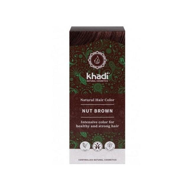 Tinte natural Khadi que da un tono castaño avellana natural al cabello  Formulaciones ayurvedas de larga permanencia para un