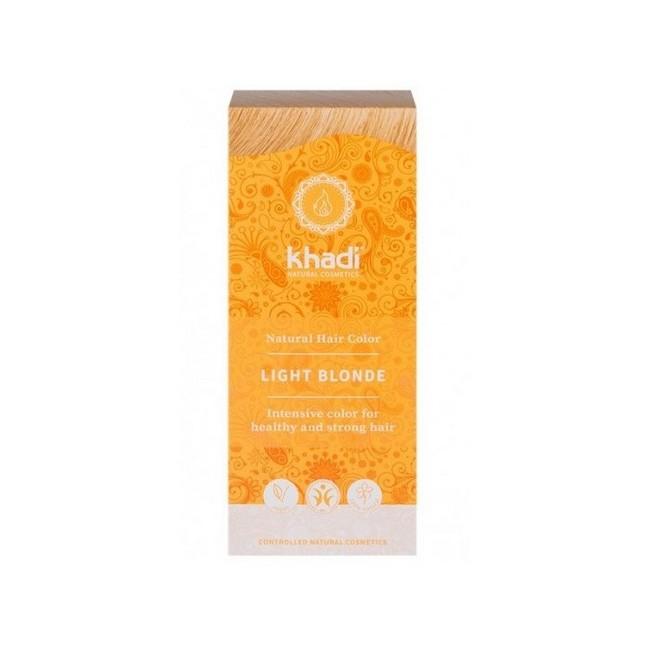 Tinte natural Khadi que proporcionan un tono rubio claro natural al cabello.  Formulaciones ayurvedas de larga permanencia pa