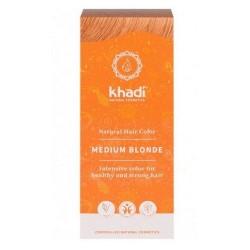 Tinte natural Khadi que proporciona un tono rubio medio al cabello.  Formulaciones ayurvedas de larga permanencia para un pel