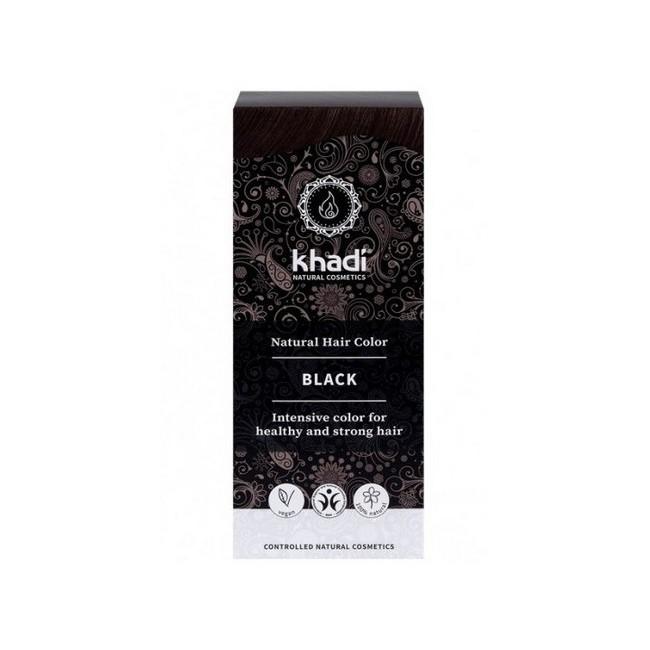 Tinte natural Khadi que proporciona un negro intenso natural al cabello.  Formulaciones ayurvedas de larga permanencia para u