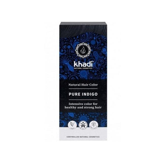 Índigo 100% natural Khadi, polvo puro de Indigofera Tinctoria , que proporciona un radiante color negro al cabello.  Color na