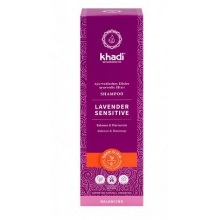 Champú Sensible Lavanda de Khadi, elixir ayurveda, alivio, armonía y cuidado para un cabello sensible   Efecto calmante del c