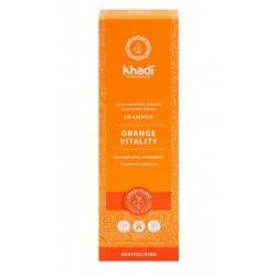 Champú Vitalidad naranja de Khadi, elixir ayurveda de efecto revitalizante que restaura el brillo natural  Limpieza profunda