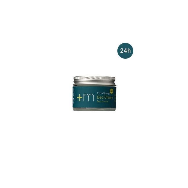 La crema desodorante Extra fuerte en frasco de vidrio ecológico desodoriza durante 24 horas con una fórmula activa fuerte.  A