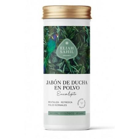 Jabón de ducha de Eucalipto en polvo, limpia, revitaliza y refresca delicadamente la piel, dejando una sensación agradable que