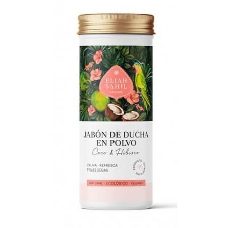 Jabón de ducha de Coco & Hibisco en polvo, limpia la piel de forma natural, hidrata y refresca.  Jabón elaborado con cáscara