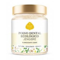 Polvo dental de Jengibre,  limpia los dientes a fondo y proporciona un blanqueamiento suave.  Mezclado con extractos vegetale
