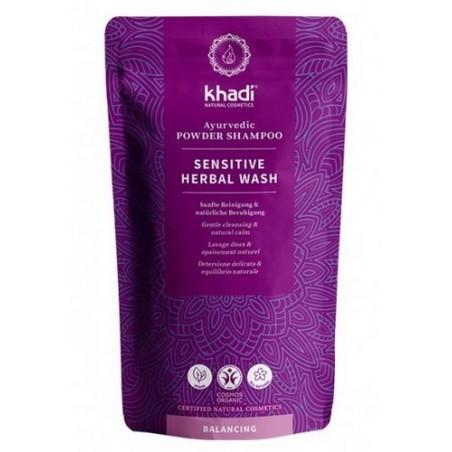 Champú en polvo para cabello sensible,  fórmula ayurveda para el cuidado capilar natural   Cuidado del pelo sensible para una