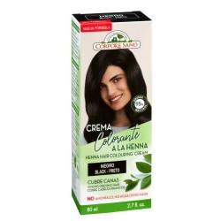 CREMA COLORANTE A LA HENNA NEGRO HENNA, JOJOBA Y ALOE VERA La crema colorante o cubre canas para cabello Negro es un tinte se