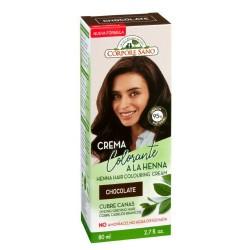 CREMA COLORANTE A LA HENNA CHOCOLATE HENNA, JOJOBA Y ALOE VERA La crema colorante o cubre canas para cabello Chocolate es un