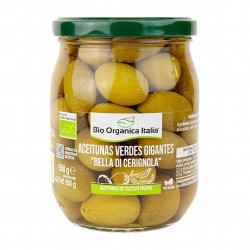 """Aceitunas verdes gigantes bella di Cerignola Bio Organica Italia 550g BIOORGANIC  Las aceitunas de la variedad de mesa """"Bell"""