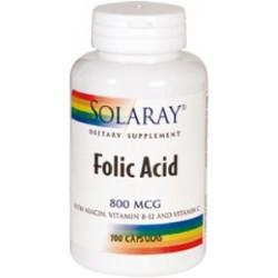 Folic Acid 800 mg. - 100 cápsulas  Descripción Las mujeres que siguen dietas saludables con cantidades adecuadas de ácido fó