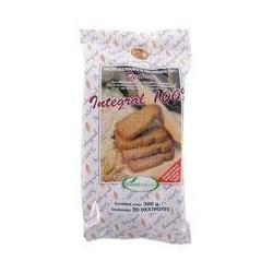 Biscote dextrinado de pan integral 100%. Alimento de bajo índice glucémico. Con MASA MADRE. Con la textura compacta de los pane