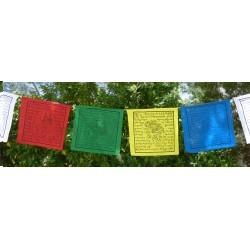 Llamadas lungta o caballo de viento, se colocan en templos, casas, montañas, árboles o lugares de devoción. Expuestas a la inte