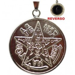 Amuleto Tetragramaton con Obsidiana Zodiacal 2.5 cm (Talisman Proteccion)